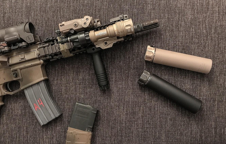 Photo wallpaper background, muffler, assault rifle