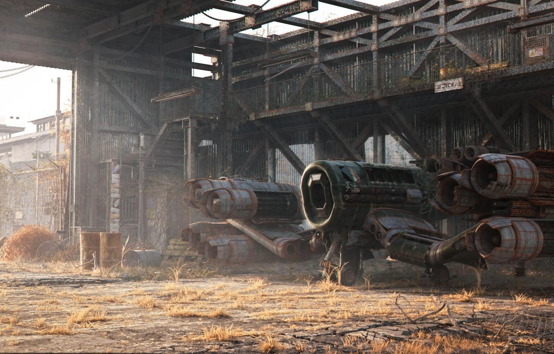 Photo wallpaper construction, structure, aircraft, Old Hangar, final render copy, Milos Belanec