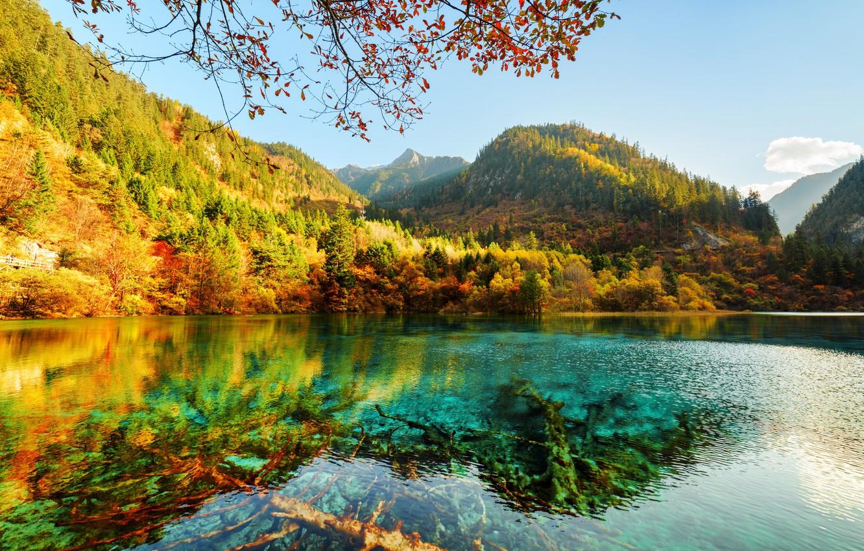 Photo wallpaper autumn, forest, the sky, the sun, trees, mountains, lake, Park, China, reserve, Jiuzhaigou, Jiuzhaigou