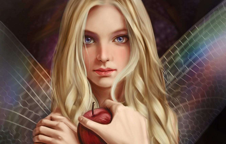 Photo wallpaper look, face, Apple, hand, fairy, wings, long hair, art, Vincent Chu