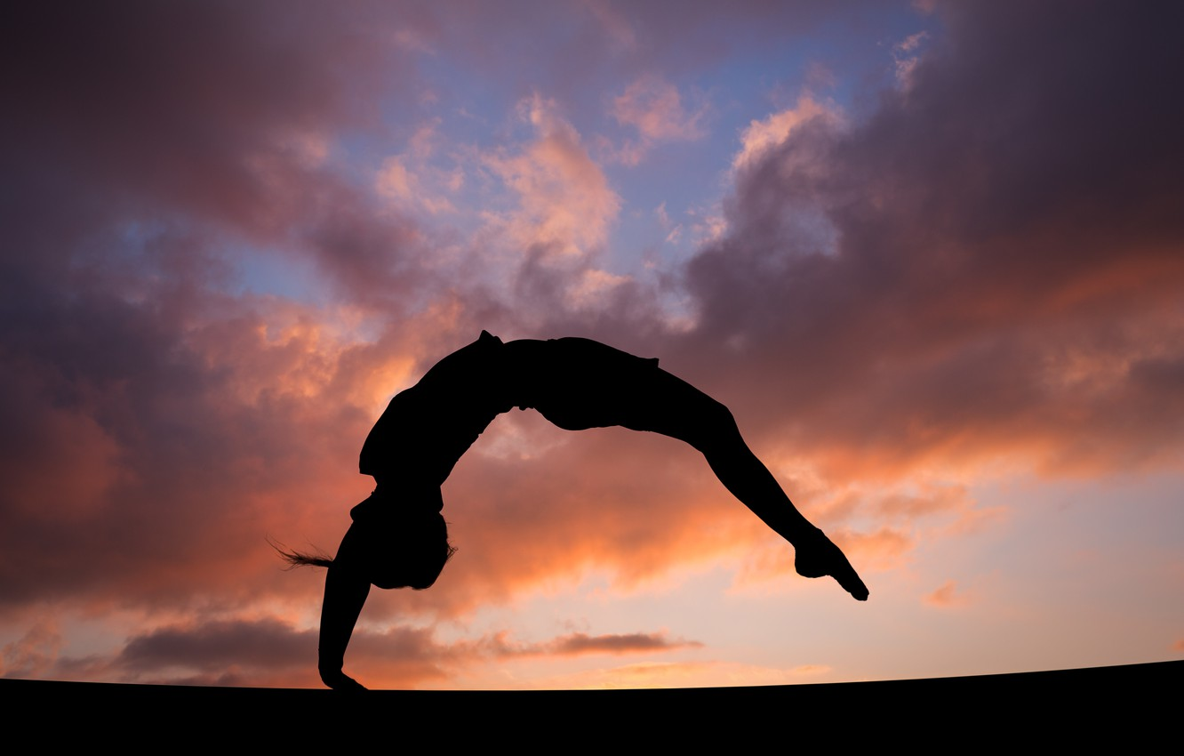 Photo wallpaper the sky, girl, clouds, sunset, background, jump, figure, silhouette, gymnast, flip