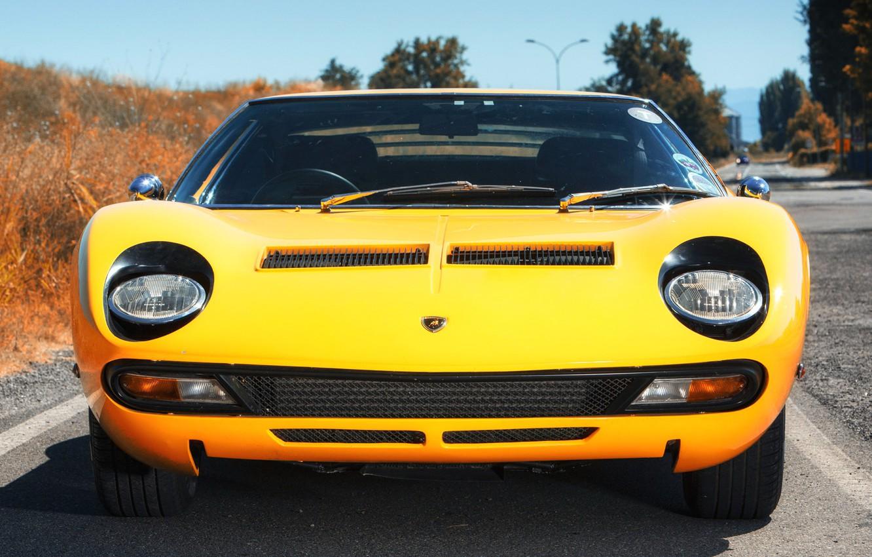 Photo wallpaper Color, Auto, Lamborghini, Machine, Eyes, 1971, Lights, Car, Lamborghini, Supercar, The front, Lamborghini Miura, P400, …