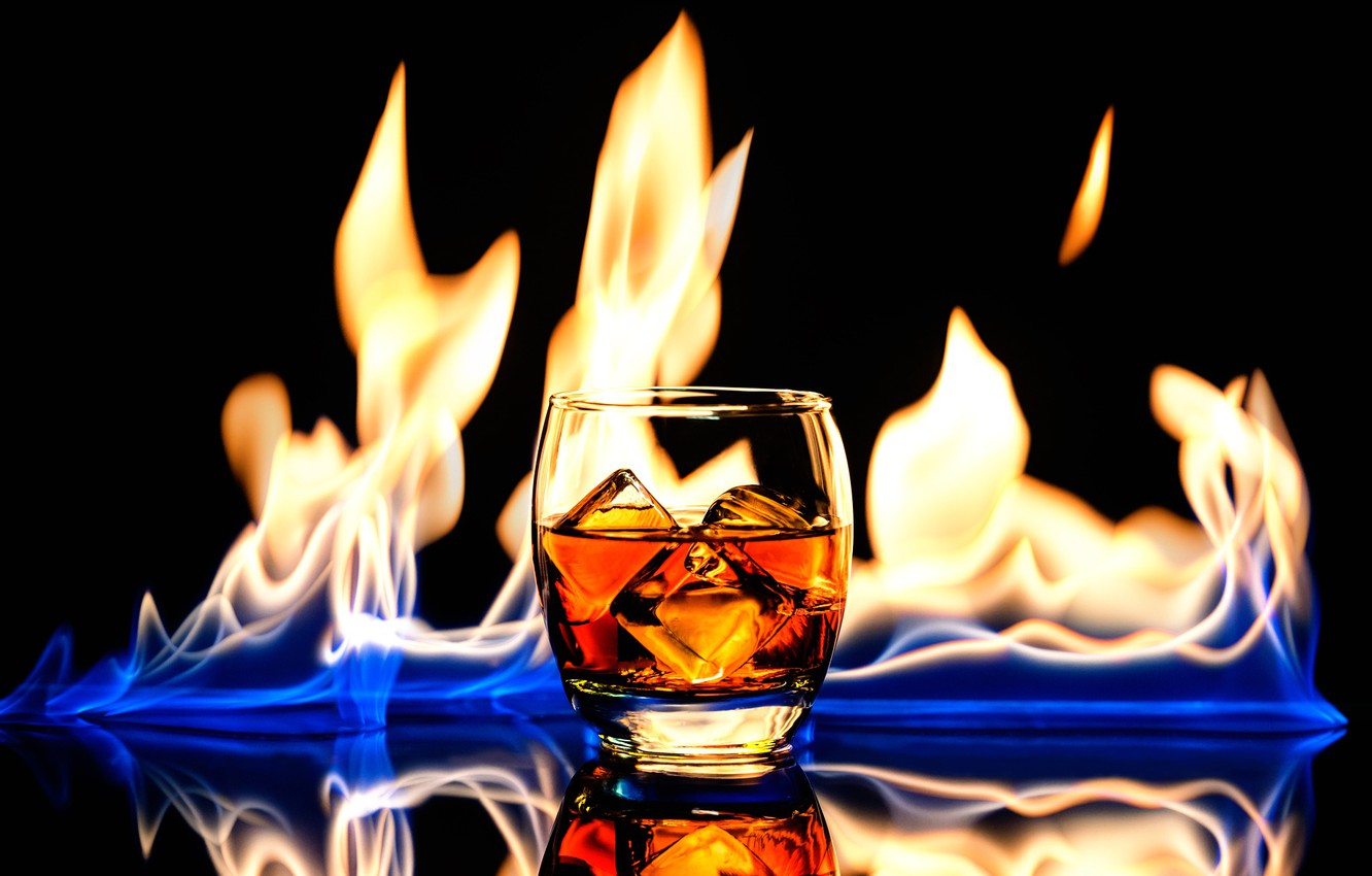 Photo wallpaper glass, drink, whiskey, fire and ice