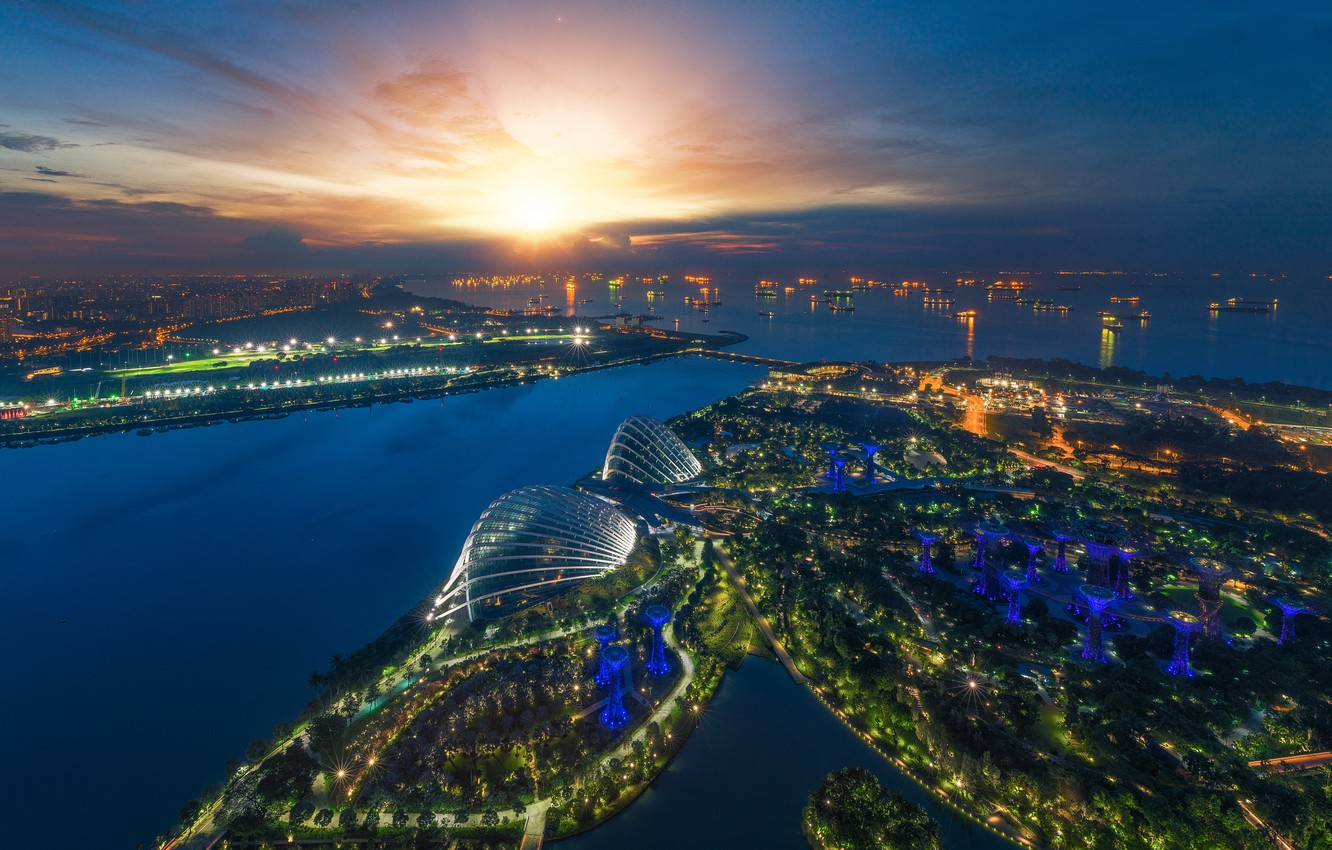 Photo wallpaper night, lights, lights, skyscrapers, Singapore, architecture, megapolis, blue, night, fountains