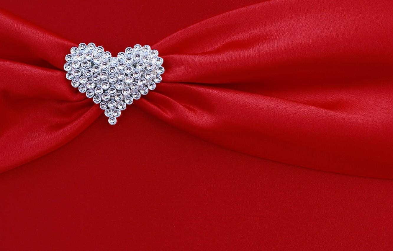 Photo wallpaper red, background, heart, silk, rhinestones, fabric, red, folds, heart, texture, silk, diamonds, drape