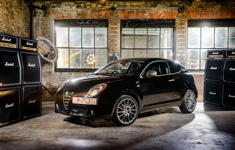 Photo wallpaper auto, black, England, brick, garage, window, black, sound, Italy, UK, floor, Alfa Romeo, monitor, MiTo, …