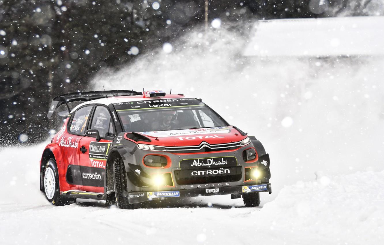 Photo wallpaper Winter, Auto, Snow, Sport, Machine, Race, Citroen, Citroen, Car, WRC, Rally, Rally, Kris Meeke, Citroen …
