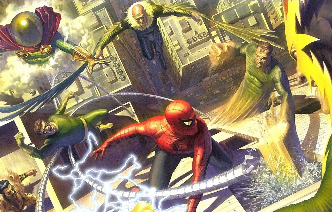 Photo wallpaper comic, Marvel Comics, Spider-Man, Villains, Sinister six, Alex Ross