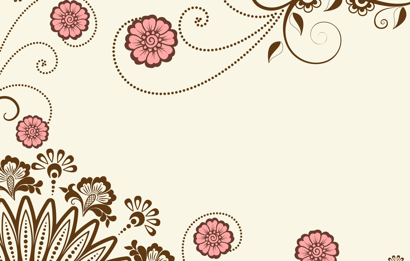 Photo wallpaper flowers, background, vector, graphics, vector, texture, ornament, ornament