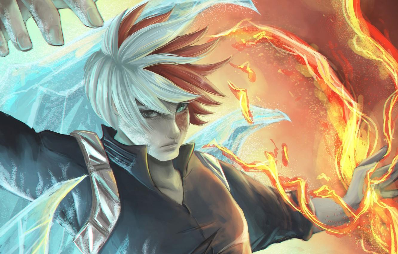 Wallpaper Look Fire Ice Anime Art Guy Boku No Hero