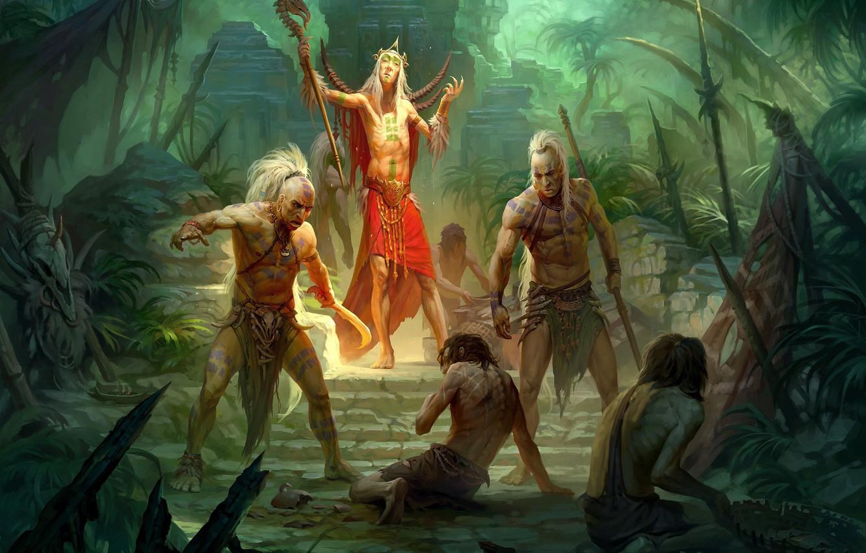 Photo wallpaper people, the sorcerer, shaman, savages, Andrew Kosinski, Tribe