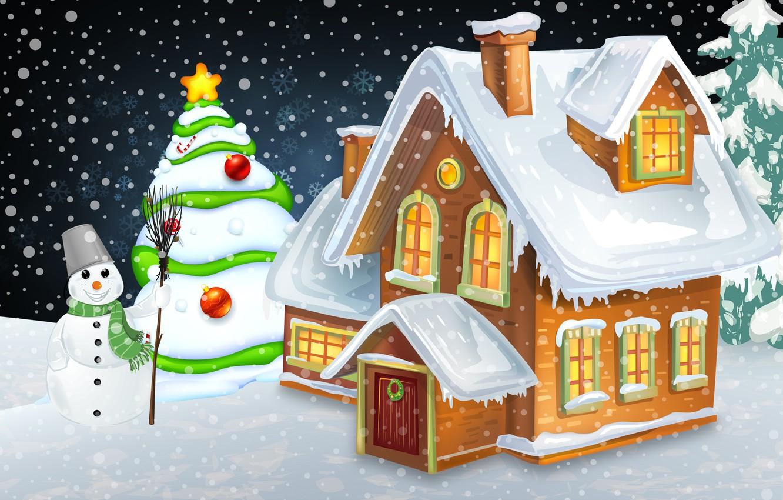 Photo wallpaper Winter, Minimalism, Snow, New Year, House, Christmas, House, Snowflakes, Tree, Holiday, Mood, Tree, Snowman