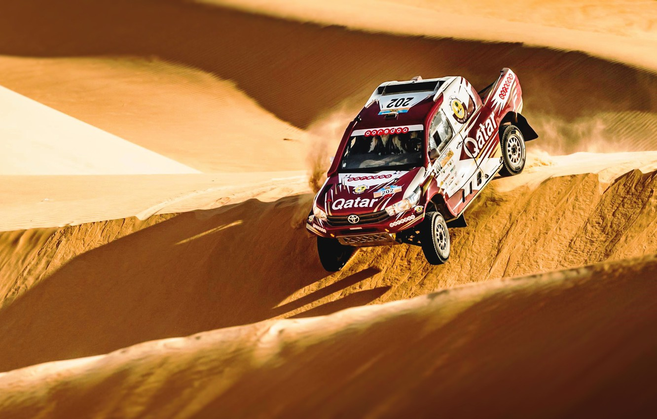 Photo wallpaper Sand, Auto, Sport, Machine, Speed, Race, Toyota, Hilux, Rally, SUV, Rally, Sport, Toyota, Hilux, The …