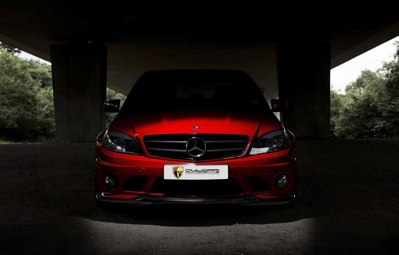 Photo wallpaper Red, AMG, Mercedes - Benz, C63, Mulgari