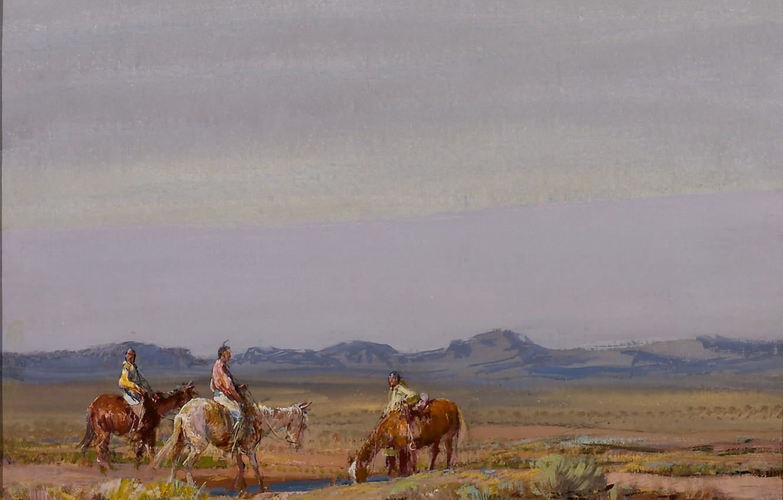 Photo wallpaper horses, the Indians, wild West, Oscar Edmund Berninghaus, Irrigation Ditch