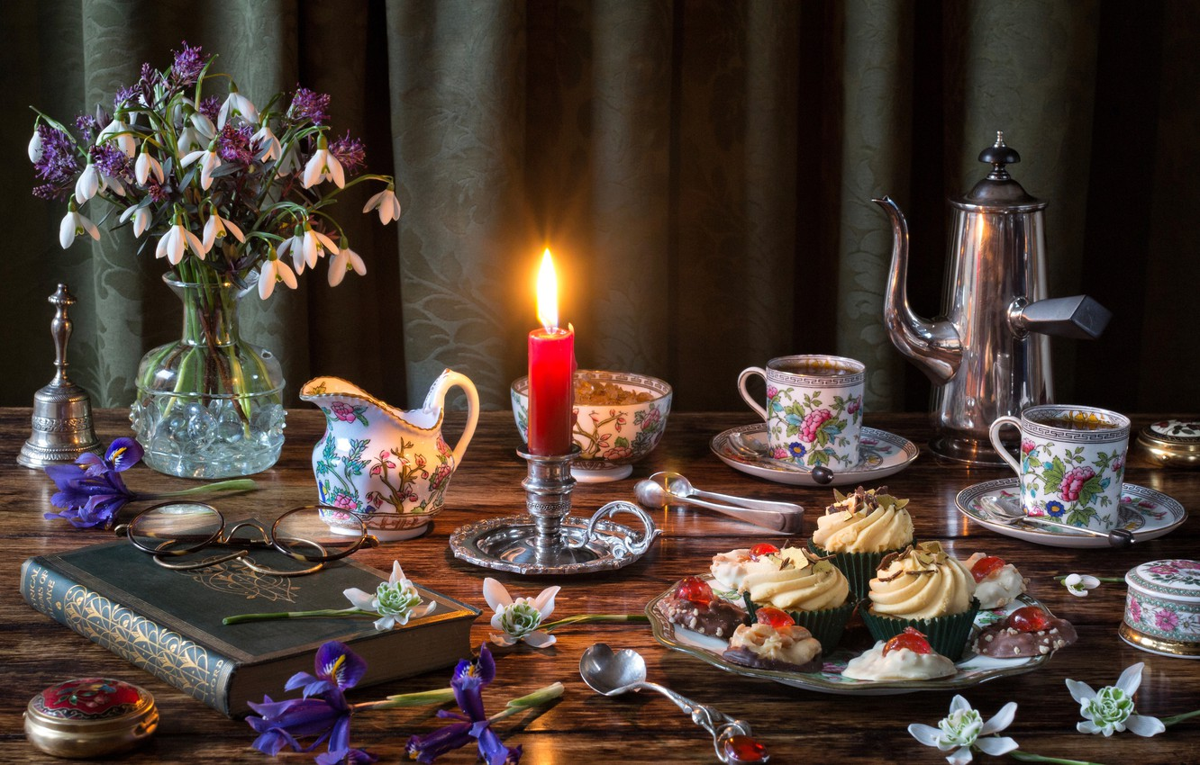Photo wallpaper flowers, style, coffee, candle, bouquet, glasses, snowdrops, book, irises, set, cupcakes, coffee pot