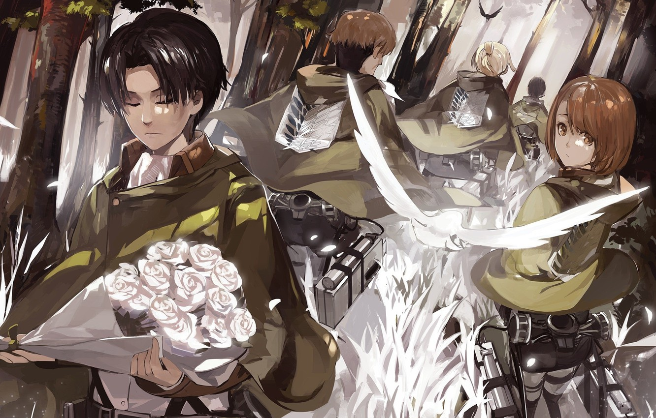 Wallpaper Forest Memories Wings Emblem Cloak Military Uniform Squad Drive The Invasion Of The Giants Levi Ackerman Shingeki No Kyojin Attack On Titan Gunter Shulz Bouquet Of Roses Petra Ral Images