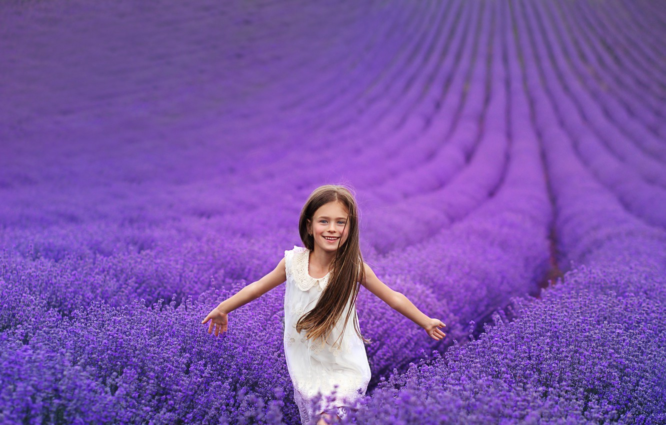 Photo wallpaper field, flowers, nature, girl, lavender