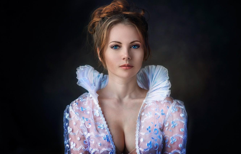 Photo wallpaper chest, girl, portrait, photographer, blouse, Anastasia, Dennis Drozhzhin