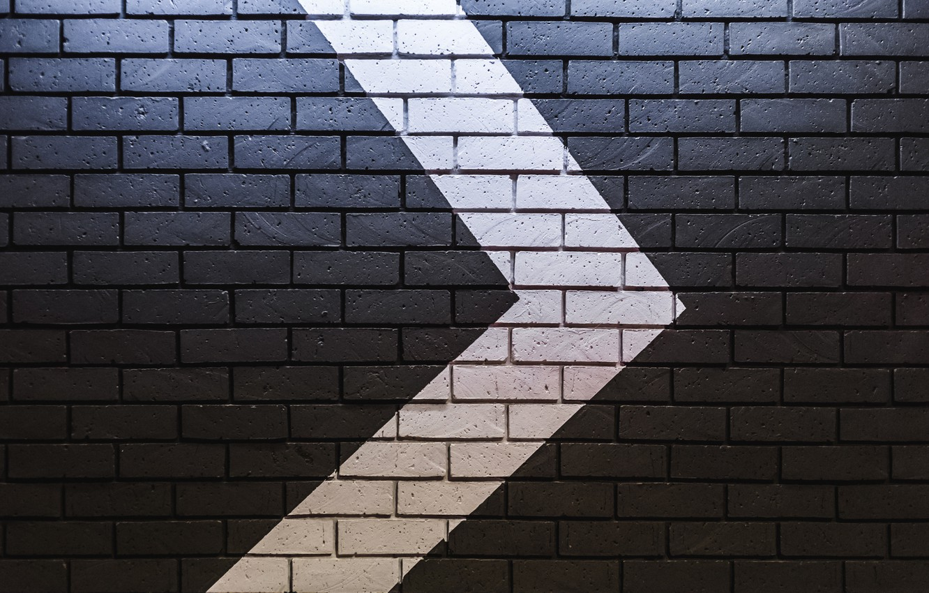 Photo wallpaper wall, arrow, bricks