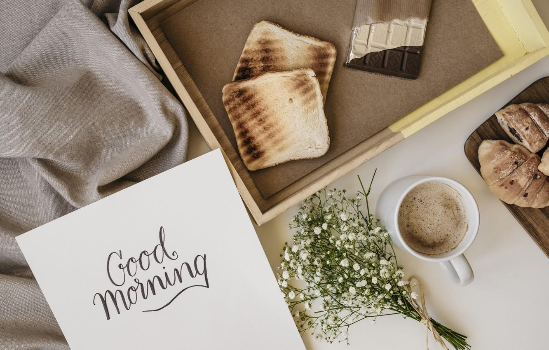 Photo wallpaper flowers, coffee, chocolate, Breakfast, flowers, cup, romantic, chocolate, coffee, good morning, toast, croissants, breakfast, growing