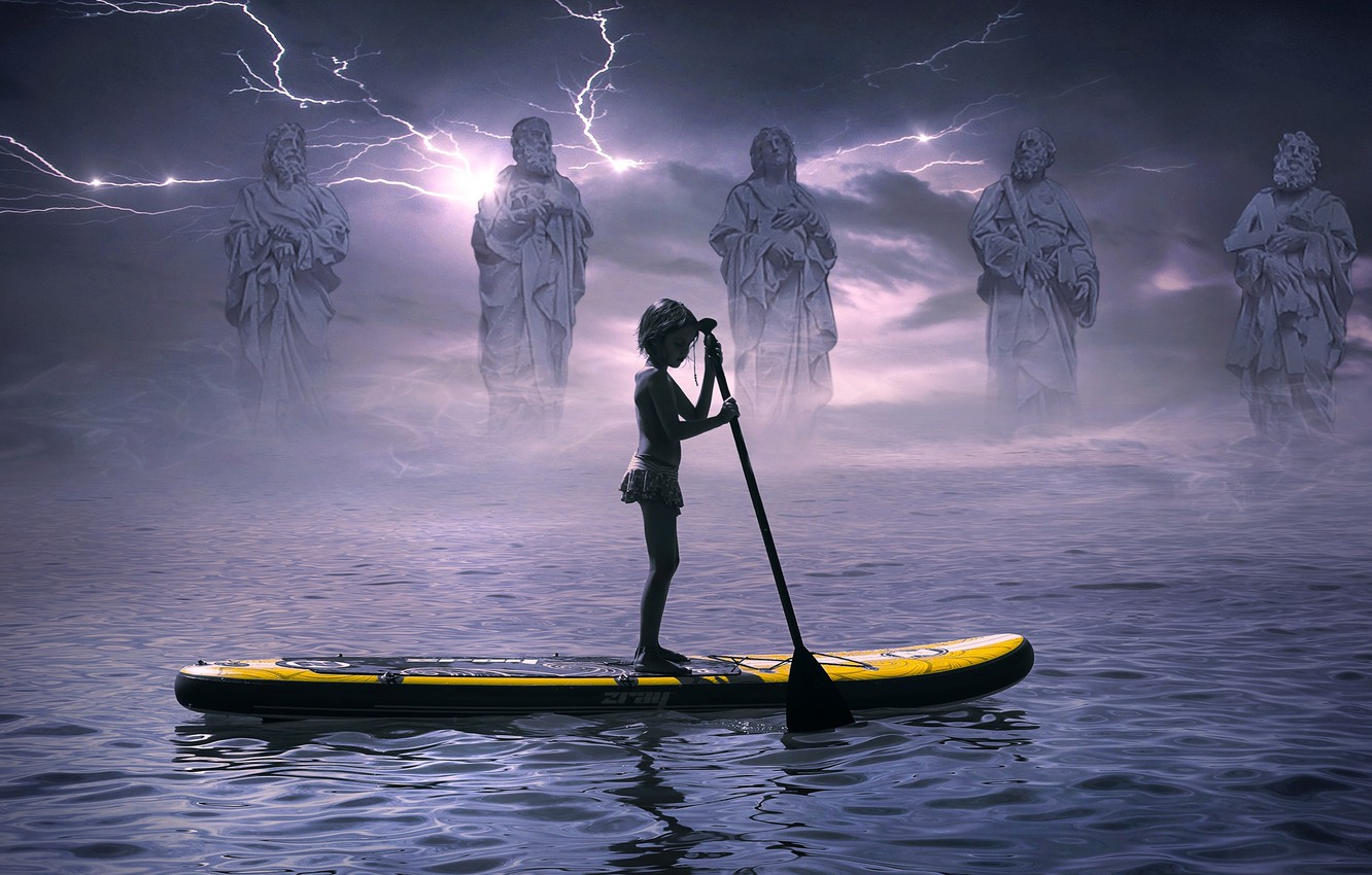 Photo wallpaper sea, the storm, the sky, water, clouds, old age, clouds, fog, river, youth, loneliness, rendering, …