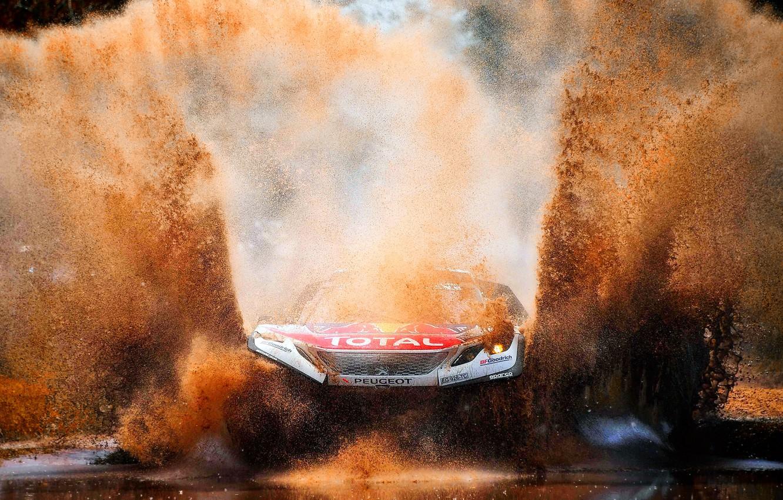 Photo wallpaper Water, Auto, Sport, Machine, Speed, Dirt, Puddle, Peugeot, Squirt, Lights, Red Bull, Rally, Dakar, Dakar, …