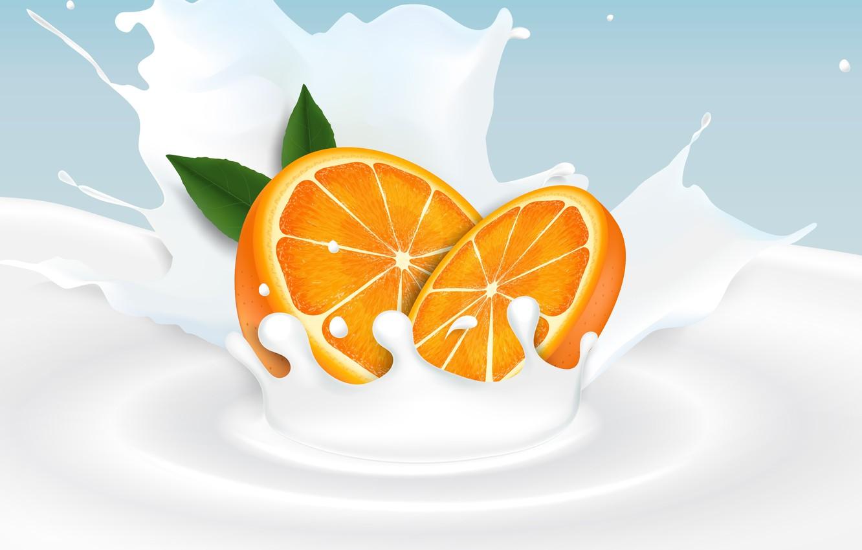 Photo wallpaper background, orange, milk, citrus