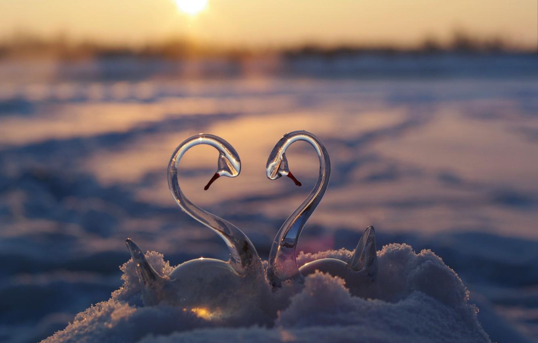 Photo wallpaper winter, glass, the sun, snow, sunset, reflection, river, loyalty, fantasy, romance, shore, heart, meeting, beauty, …