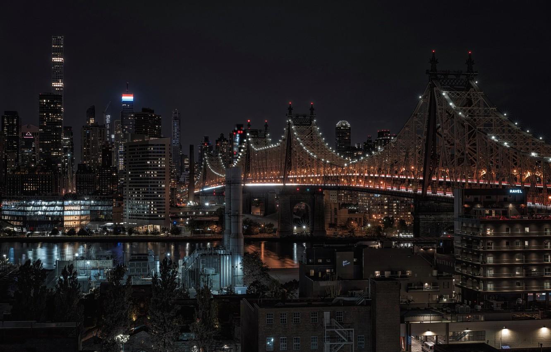 Photo wallpaper night, New York, Roosevelt Island