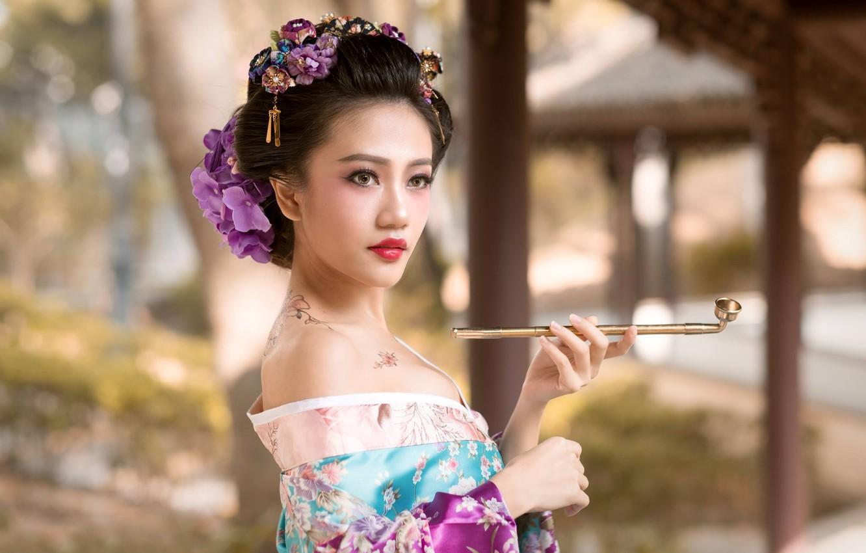 Photo wallpaper girl, flowers, style, tube, tattoo, geisha, kimono, Asian, bokeh, kiseru