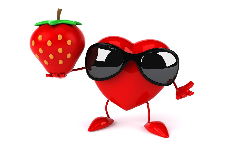 Photo wallpaper heart, strawberry, heart, strawberry, funny, rendering, sunglasses, 3D Art