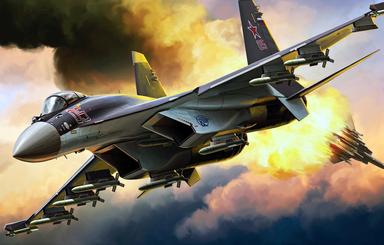Photo wallpaper Su-35, dogfight, Sukhoi, Flanker-Е+, the