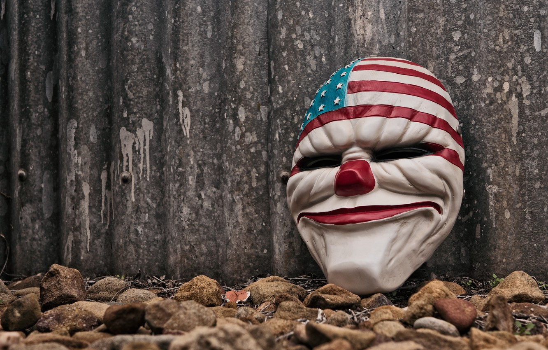 Photo wallpaper face, clown, mask, evil, USA, America, USA flag