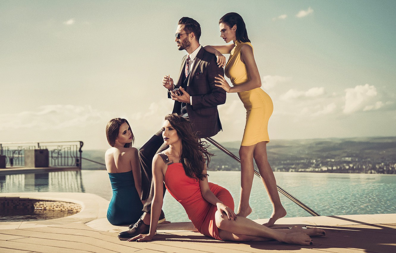 Photo wallpaper style, girls, costume, male, dresses