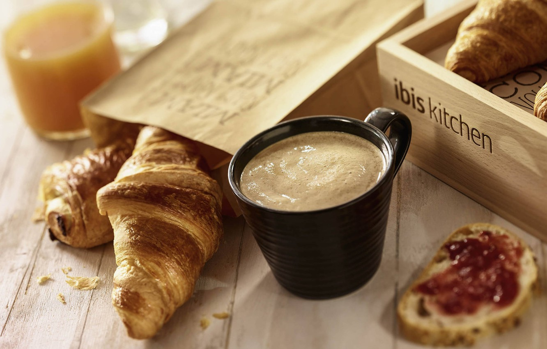 Photo wallpaper coffee, Breakfast, juice, croissants
