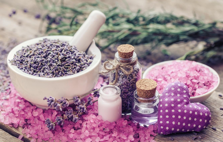 Photo wallpaper heart, pink, lavender, lavender, salt, spa, oil