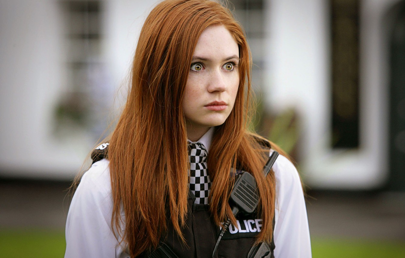 Photo wallpaper Girl, Look, Girl, Eyes, Actress, Police, Red, Doctor Who, Beauty, Eyes, Doctor Who, Beautiful, Redhead, …