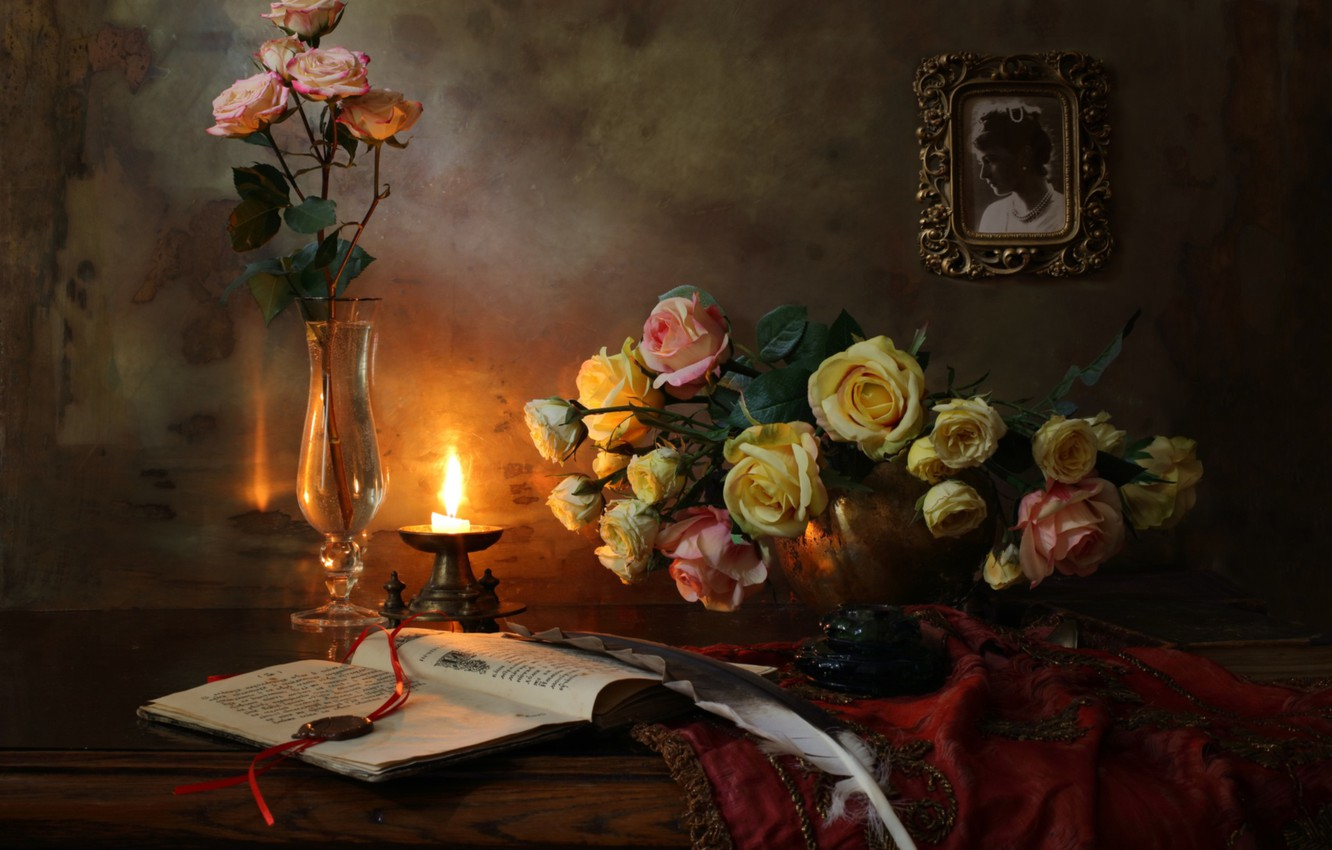 Photo wallpaper notes, pen, violin, glass, candle, picture, still life, ink