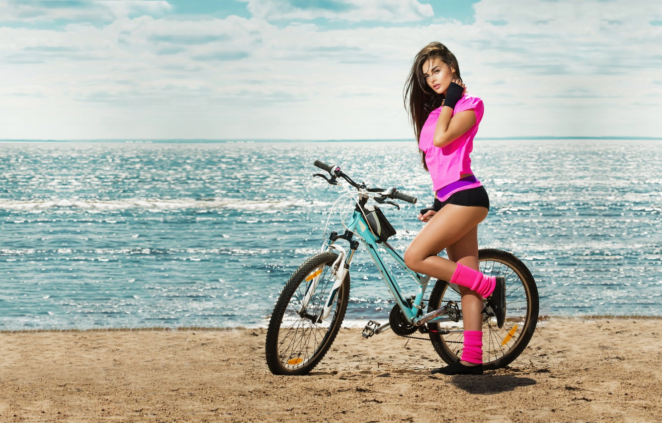 Photo wallpaper bicycle, beach, woman, beauty, sports, fit, activewear