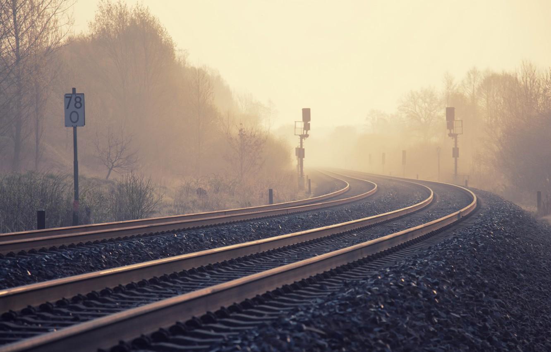 Photo wallpaper nature, fog, railroad