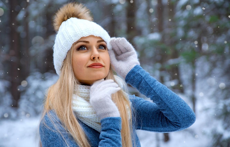 Photo wallpaper girl, Model, long hair, photo, blue eyes, winter, snow, bokeh, lips, face, blonde, snowfall, smiling, …