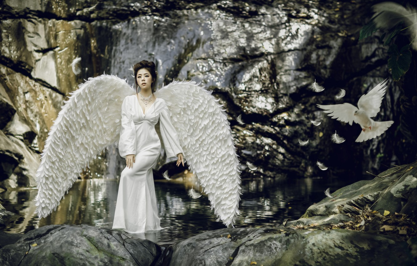 Photo wallpaper water, girl, style, bird, dove, wings, feathers, dress, Asian, Swan