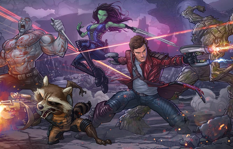 Photo wallpaper raccoon, art, marvel comics, Patrick Brown, Rocket, PatrickBrown, raccoon, Peter Quill, Star-Lord, Guardians of the …