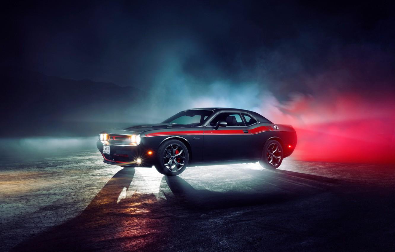 Photo wallpaper light, fog, lights, Dodge, wheel, Dodge, challenger, Challenger