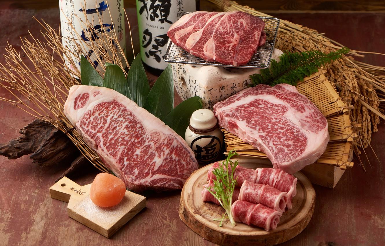 Photo wallpaper meat, steak, marble