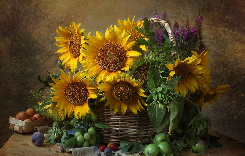 Photo wallpaper flowers, Apple, sunflower, still life, drain