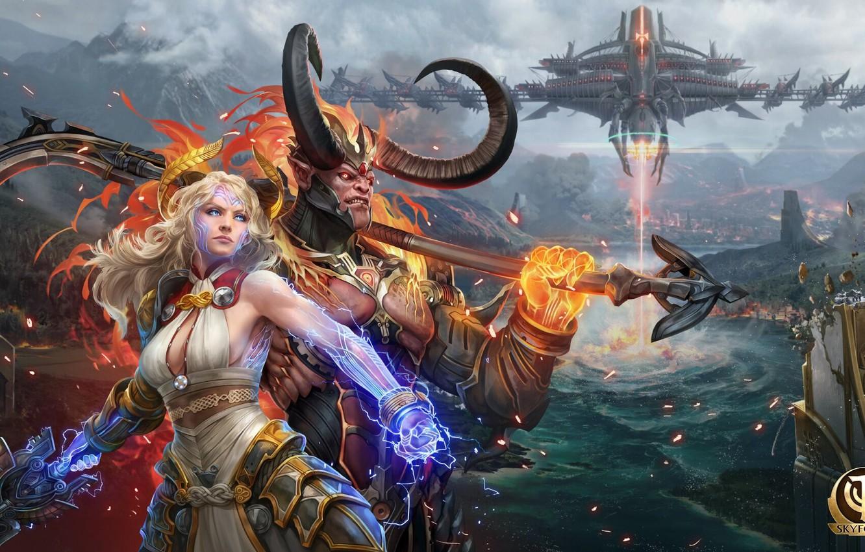 Photo wallpaper girl, the demon, horns, the gods, MMORPG, deity, skyforge