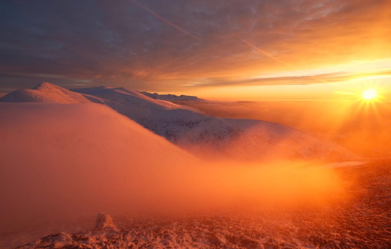 Photo wallpaper The sun, The sky, Mountains, Snow, Landscape