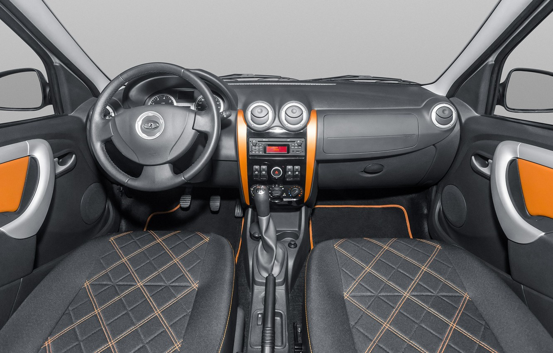 Photo wallpaper the wheel, salon, radio, Lada Largus, the interior space of the vehicle